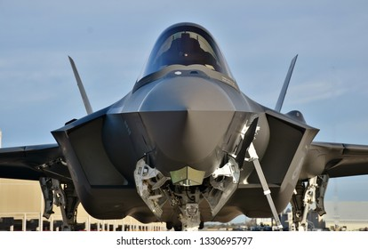Tucson, USA - March 2, 2018: A U.S. Air Force F-35 Joint Strike Fighter (Lightning II) jet at Davis Monthan Air Force Base. This F-35 is assigned to Luke Air Force Base.