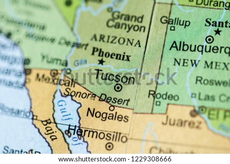 Tucson USA On Geography Map Stock Photo (Edit Now) 1229308666 ... on