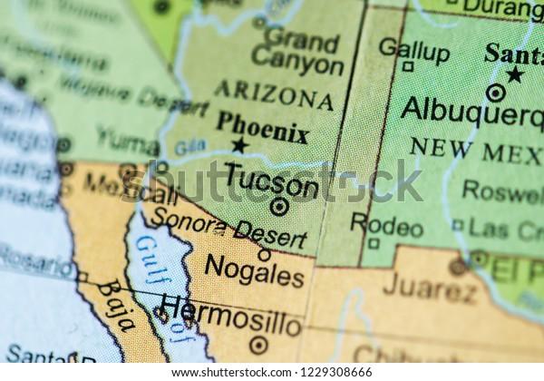 Tucson Usa On Geography Map Stock Photo (Edit Now) 1229308666 on arizona tucson, zip code map tucson, weather tucson, street map tucson,
