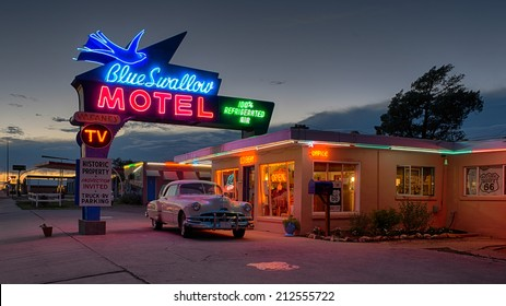 TUCUMCARI, NEW MEXICO - AUGUST 8: Historic Blue Swallow Motel on Tucumcari Boulevard (Route 66) on August 8, 2014 in Tucumcari, New Mexico