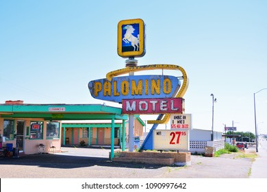 TUCUMCARI, NEW MEXICO - JULY 21: Palomino Motel on Historic Route 66 on July 21, 2017 in Tucumcari, New Mexico. The Palomino Motel has been serving travelers along the Mother Road since 1939.