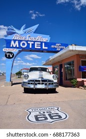 TUCUMCARI, NEW MEXICO - JULY 21: Blue Swallow Motel on Historic Route 66 on July 21, 2017 in Tucumcari, New Mexico. Building is on the National Register of Historic Places in New Mexico of Route 66.