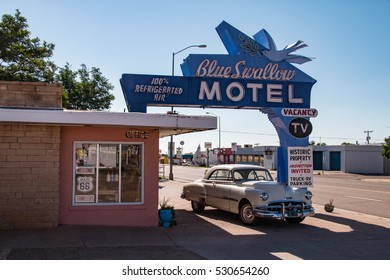 TUCUMCARI, NEW MEXICO - JULY 4, 2016 -The Blue Swallow Motel in Tucumcari, New Mexico, United States, is listed on the National Register of Historic Places in New Mexico as a part of U.S. Route 66
