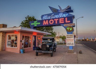 TUCUMCARI, NEW MEXICO - MAY 13, 2016 : Historic Blue Swallow Motel at sunset This building is listed on the National Register of Historic Places in New Mexico as a part of historic U.S. Route 66.