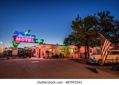 TUCUMCARI, NEW MEXICO - MAY 13, 2016 : Blue Swallow Motel with old cars parked in front of it. This building is listed on the National Register of Historic Places as a part of historic U.S. Route 66.