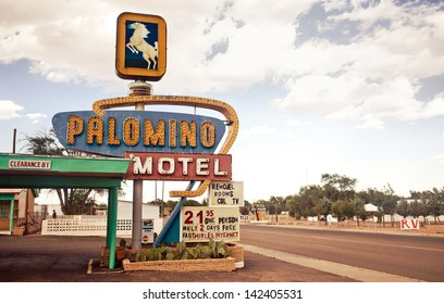 TUCUMCARI, NM - JULY 11: Palomino Motel on Historic Route 66 on July 11, 2011 in Tucumcari, NM. The Palomino Motel has been serving travelers along the Mother Road since 1939.