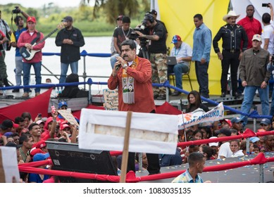 Tucupita, Delta Amacuro, Venezuela; April 24 2018. The president of Venezuela, Nicolás Maduro, speaks during a campaign event for the elections on May 20.