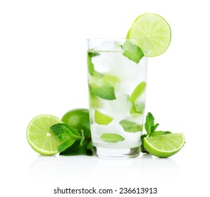 tudio shot of cold mojito with ice cubes isolated on a white background
