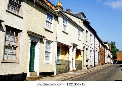 Tudor and georgian town houses in Bury St Edmunds, UK