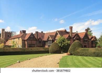 Tudor manor house in Eton Dorney, Berkshire, England from front approach
