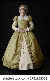 A Tudor woman in a gold dress