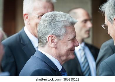 Tuebingen, Germany - April 19, 2012: German President Joachim Gauck visits the City Tuebingen, taking a bath in the crowd.