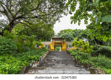 TUEN MUN, HONG KONG - OCT 02, 2015: Tsing Shan Monastery in Tuen Mun, Hong Kong. It is also known as Castle Peak Monastery since this temple complex perched on the hill of Castle Peak.