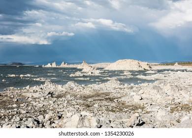 Tufa formations in Mono Lake. Long exposure. California, USA