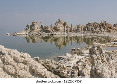 Tufa towers at Mono Lake, a large and shallow saline soda lake in Mono County, California. Tufa is a type of limestone rock primarily consisting of calcium carbonate minerals.