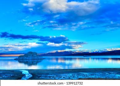 Tufas in Mono Lake at sunset.