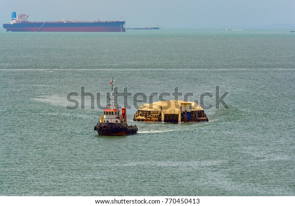Tug Boat Towing Barge Sand Coastal Stock Photo (Edit Now) 770450413