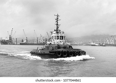 Tug boat traveling through the water, black and white image