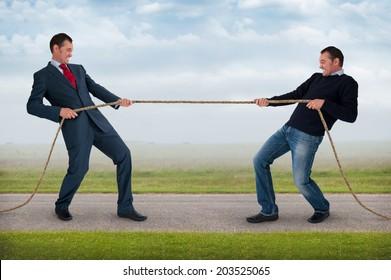 tug of war work life balance conflict concept