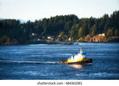 Tugboat in Johnstone Strait in Canada escorting a cruise liner on a summer morning.