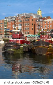 Tugboats and buildings in downtown Portsmouth, New Hampshire