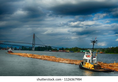Tugboats moving logs down the river on a stormy day