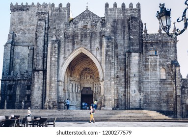TUI, CAMINO DE SANTIAGO, SPAIN - October 2, 2018: Portuguese Camino, Tui, Facade of the Cathedral of the Blessed Virgin Mary in Tui, starting point for many pilgrims, The St. James Way