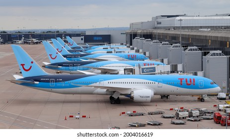 TUI fleet at their Gates at Manchester Airport Terminal 2, UK on 18 June 2021.