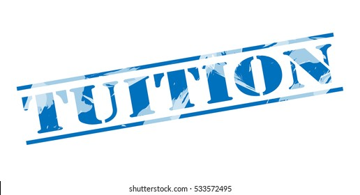 tuition blue stamp on white background