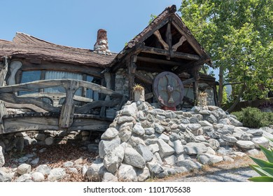 """Tujunga , California, USA - May 28, 2018: Look at the """"Hansel and Gretel"""" House or """"SMURF HOUSE"""" or """"The Hobbit House"""" in Tijunga."""