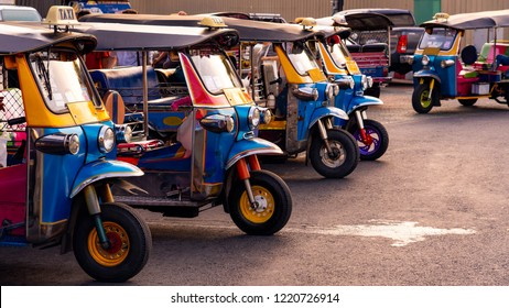 Tuk Tuk, auto-rickshaws lined up on the street