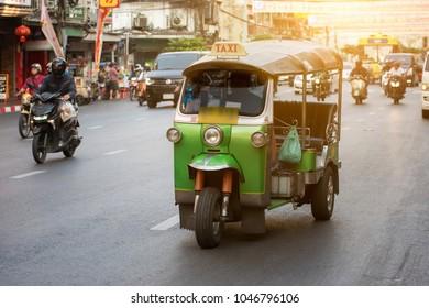 Tuk Tuk taxi on Yaowarat road in China town, Bangkok, Thailand