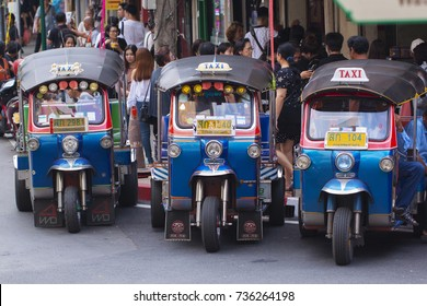Tuk Tuk taxi of Thailand are parking for wait a tourist passenger at Bangkok Thailand on October 2017.