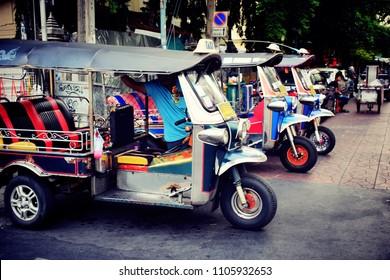 tuk tuk thailand waiting to receive and send tourists at Khaosan Road or Thanon Khaosan is a popular tourist street in central Bangkok, thailand, June 2018, Vintage