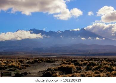 Tukino Mountain Road, view to Mount Ruapehu, Manawatu-Manganui, Tongariro National Park, North Island, New Zealand