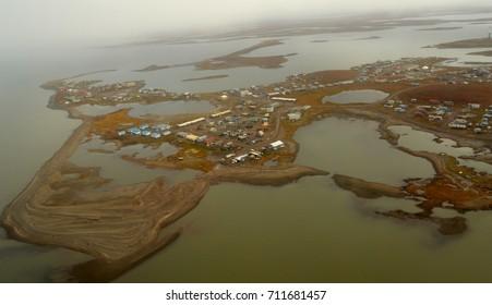 Tuktoyaktuk, Northwest Territories, Canada is the end of the road at the Arctic Ocean.