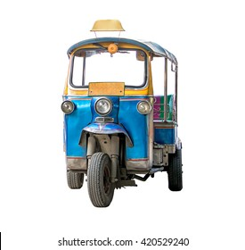 tuk-tuk isolated on white background. Traditional motor tricycle for transport passengers in Asia. Empty three-wheeler moto taxi.
