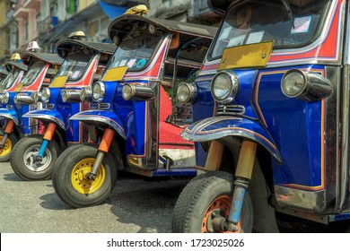 tuk-tuk parking, traditional taxi in Bangkok