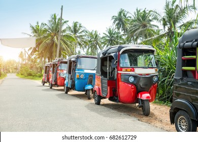 Tuktuk taxi on road of Sri Lanka Ceylon travel car