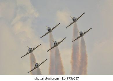 """Tukums , Latvia , 04.august. 2018 ,airshow """"Wings over Baltics"""" jet l-39 Baltic bees performance from sky"""