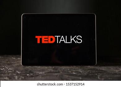Tula 24 09 2019: Ted talks on the tablet display.