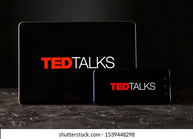 Tula 24 09 2019: Ted talks on the tablet and phone display.