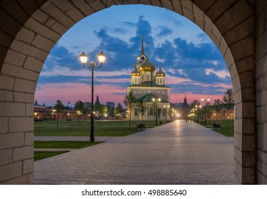 Tula city, Russia. Assumption (Uspensky) Cathedral — Orthodox Cathedral in the Tula Kremlin. Sunset sky and the beautiful warm light plays gold on the domes