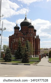 TULA - MAY 1, 2019: Tula Kremlin wall and the Church