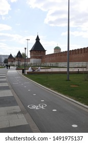 TULA - MAY 1, 2019:  The road near the wall of the Tula Kremlin