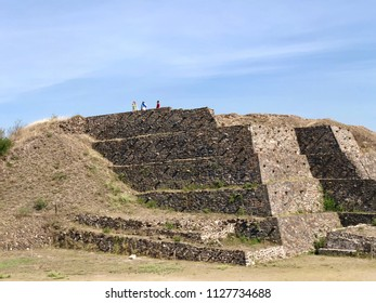 TULA, MEXICO - May 29, 2018: Tourists visit Toltec Pyramid at the Mesoamerican site of Tula de Allende in Tula, Mexico.