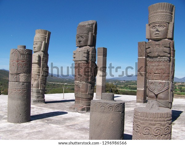 Tula, Mexico, November 28, 2016. Columns on Pyramid B in Form of Toltec Warriors at Tula Archaeological Site, Mexico on November 28, 2016.