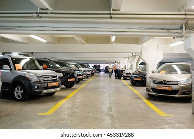 Tula, Rossia, September, 2, 2015: second-hand cars in dealer's showroom. In the conditions of an economic crisis more and more buyers get cars in the secondary market