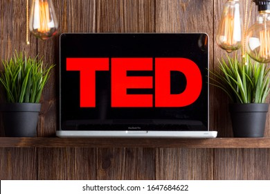 Tula Russia 16.01.20 Ted Talks on the laptop screen isolated.