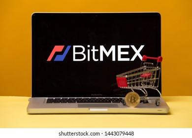 Tula, Russia 17. 06 2019 Bitmex on the laptop display.